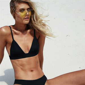 Sexy Triangle Solid Bathing Suit
