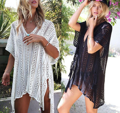 Crochet Knitted Tassel Tie Beach Dress