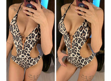 Load image into Gallery viewer, Deep V Bodysuit Backless High Cut Swim Suit