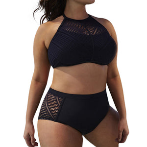 Mesh High Neck Bikini Set
