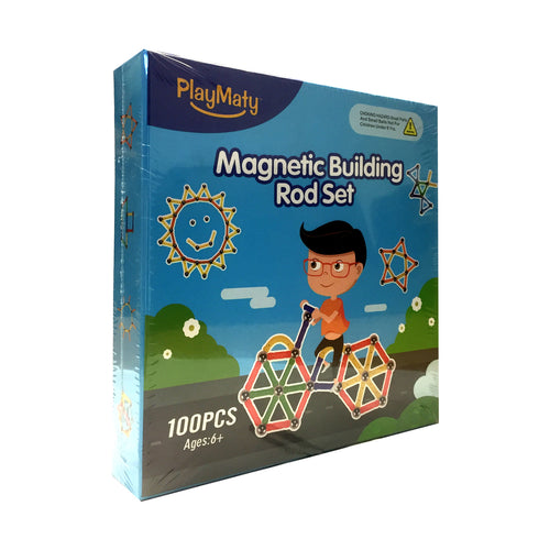 PlayMaty 100 Piece Magnetic Building Rod Set