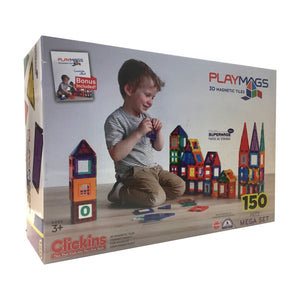 PlayMags Magnetic Tiles 150Pcs Megaset (T1)