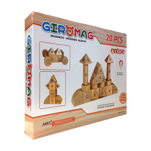 Giromag 20 Piece Magnetic Wooden Blocks