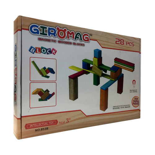 Giromag 28 Piece Magnetic Wooden Blocks