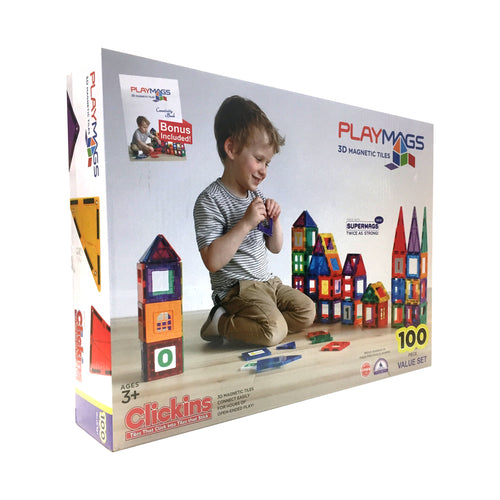 PLAYMAGS - MAGNETIC TILE CLEAR COLOUR 100 PIECES WITH SUPER MAGS (TP100)