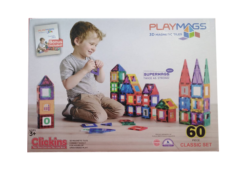 PLAYMAGS - MAGNETIC TILE CLEAR COLOUR 60 PIECES WITH SUPER MAGS (TP60)