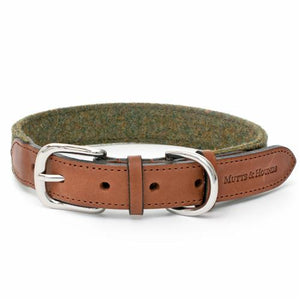 Mutts and Hounds Collar Forest Green Tweed