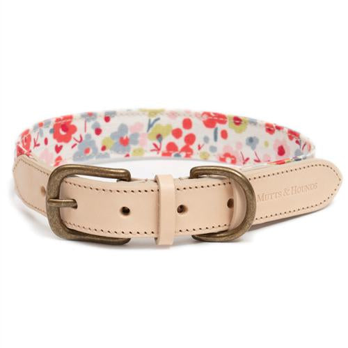 Mutts and Hounds Posie cotton/Nude leather collar