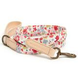 Mutts and Hounds Posie floral cotton and leather dog lead
