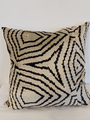 Black & White Hand Woven Silk Pillow