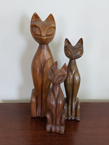 Mid-Century Hand Carved Cats