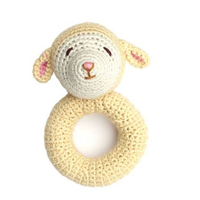 Lamb Ring Hand Crocheted Rattle