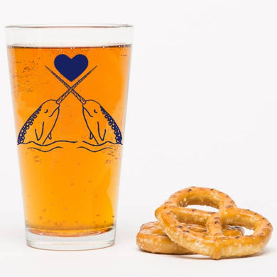 Narwhals in Love Pint Glass