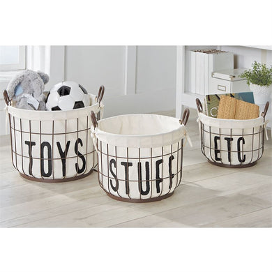Printed Canvas Wire Storage Baskets