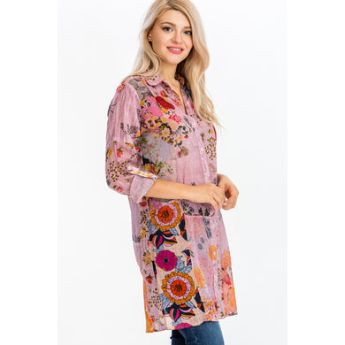 Floral Printed Patchwork Shirt Dress