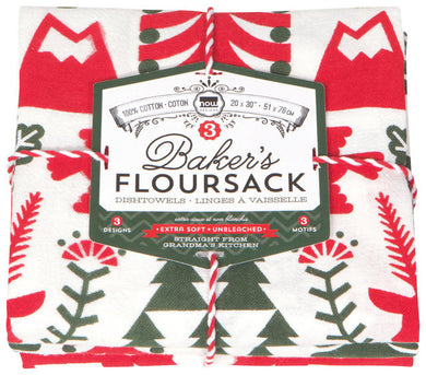 Yuletide Bakers Floursack Tea Towels (Set of 3)