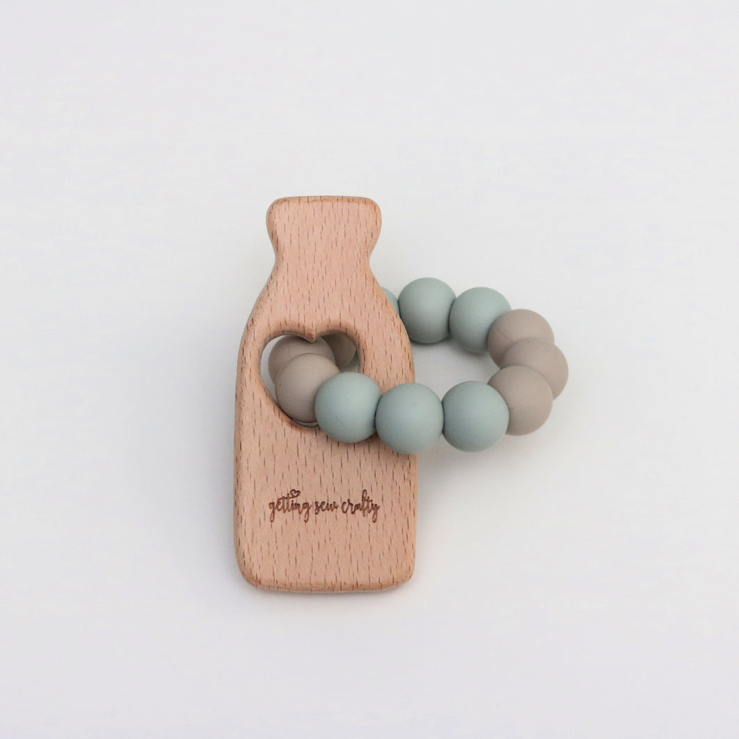 Teething Toy - Milk Bottle - Silicone + Wood