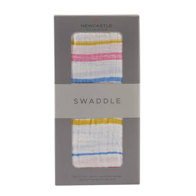 Watercolor Striped Swaddle Blanket