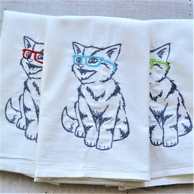 Nerdy Cat Embroidered Tea Towels