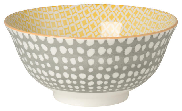 Grey Dots & Yellow Bowl (22 oz)