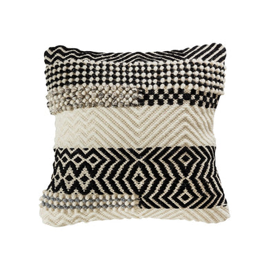 Black, Grey & Crema Textured Pillow