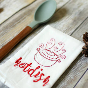Hot Dish Embroidered Tea Towels