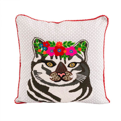 Cat With Flowers Pillow