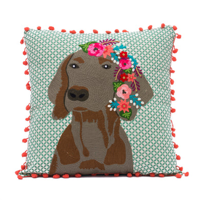 Dog With Flowers Pillow