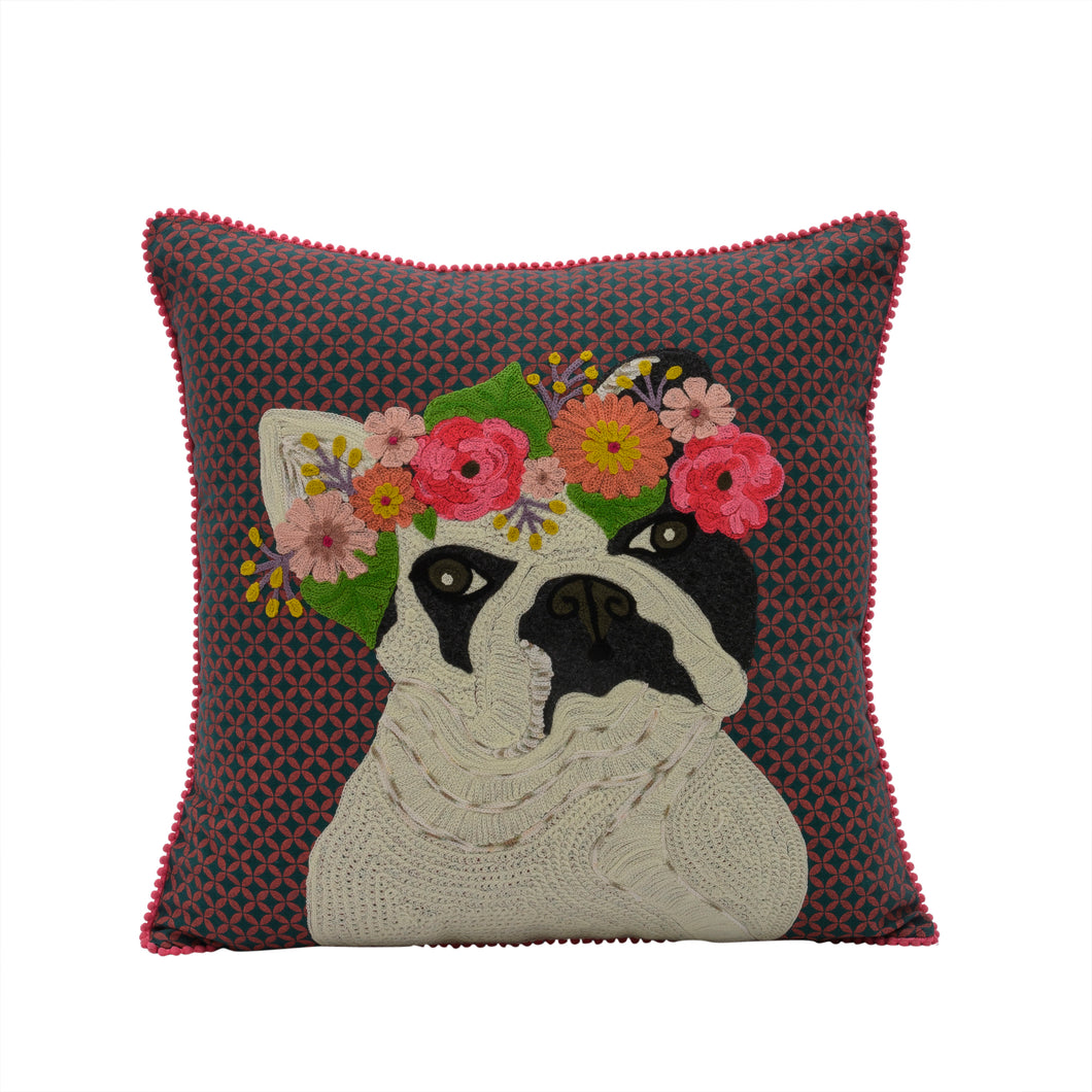 Embroidered Frenchie Pillow