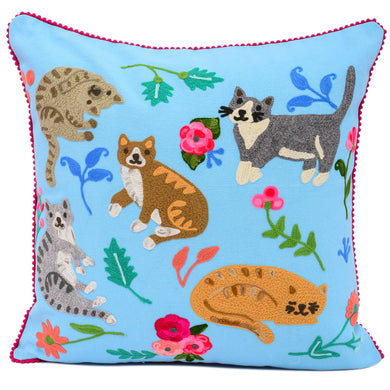 Cats Gathering Pillow