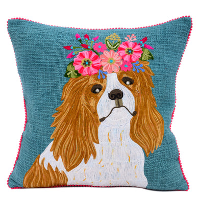 Embroidered Cavalier King Charles Pillow