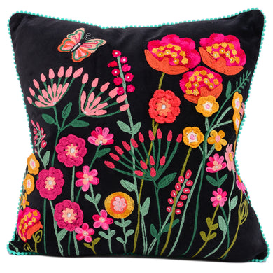 Embroidered Black Velvet Pillow