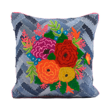 Denim Floral Pillow