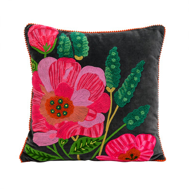 Embroidered Grey Velvet Pillow