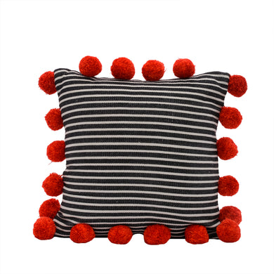 Striped Pom Pom Pillow