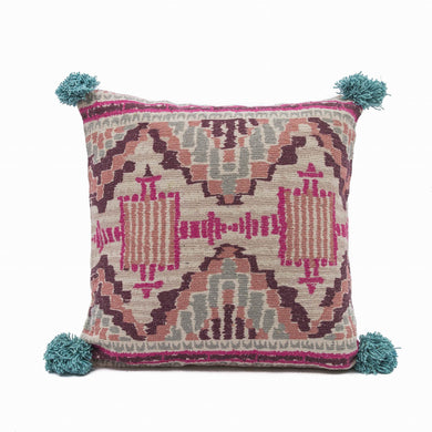 Woven Pillow With Pom Poms