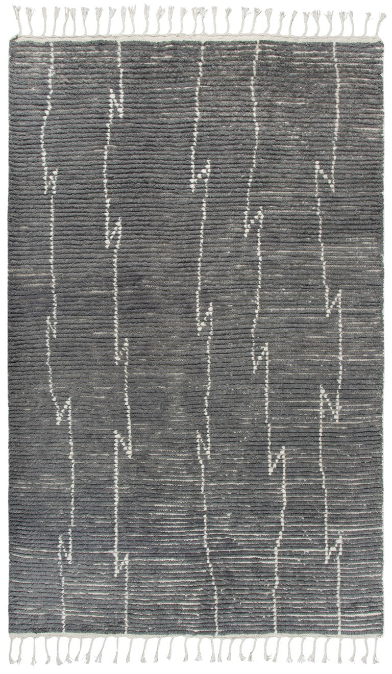Hand-Knotted Wool Rug with Fringe
