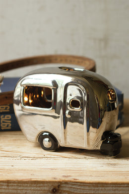 Silver Ceramic Camper Night Light
