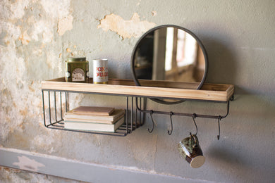 Mirror With Shelf, Basket & Hooks