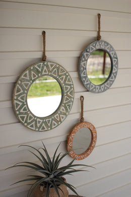 Round Wooden Mirrors With Rope Hangers
