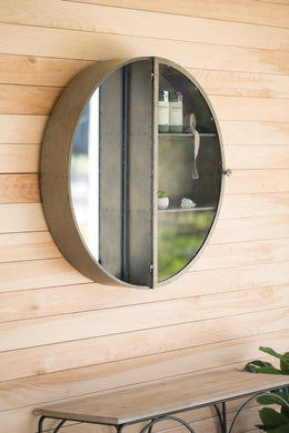 Round Metal Frame Mirror With Storage