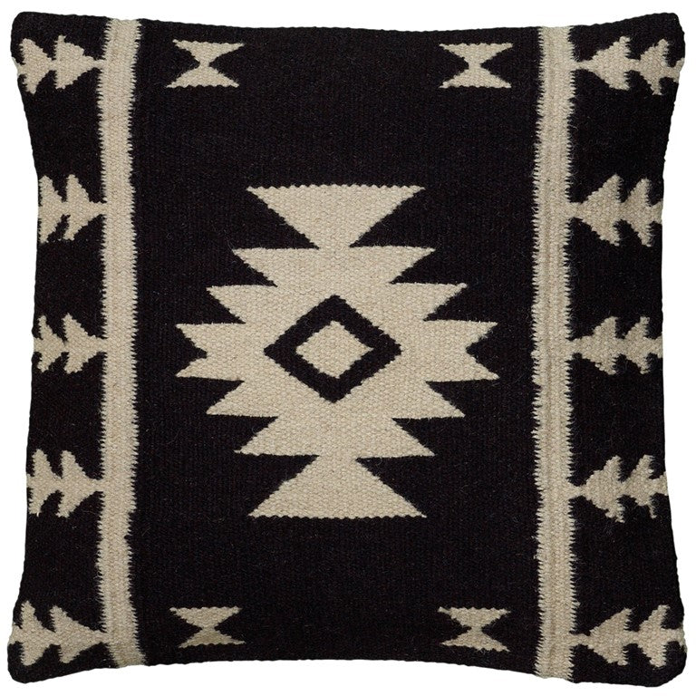 Black & Ivory Woven Dhurrie Throw Pillow