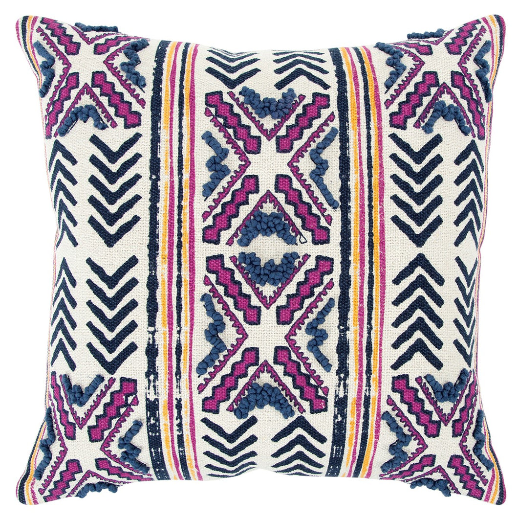 Pink, Blue Natural, Yellow & Charcoal Throw Pillow