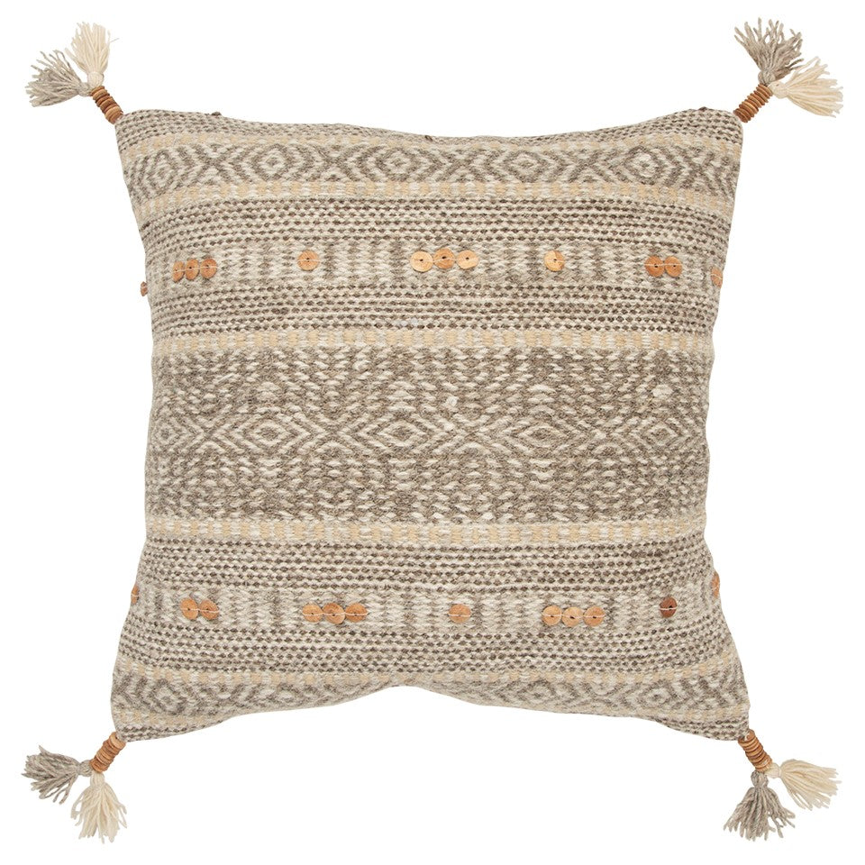 Woven Stripe Pillow With Wood Bead Accents