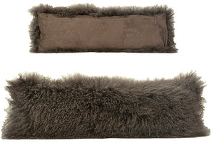 Long Lumbar Mohair Pillow-Grey