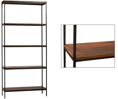 Distressed Wood & Metal Bookcase
