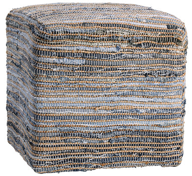 Hand Stitched Jute & Denim Pouf