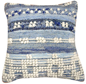 Hand Woven Wool & Denim Pillow