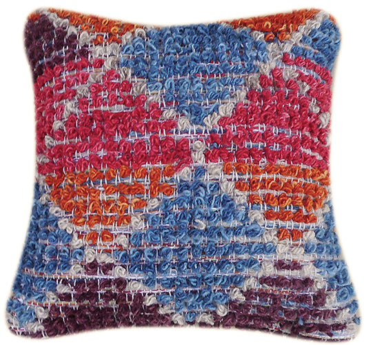 Multi Color Hand Woven Wool Pillow