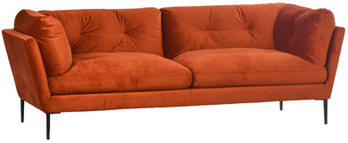 Burnt Orange Velvet Sofa